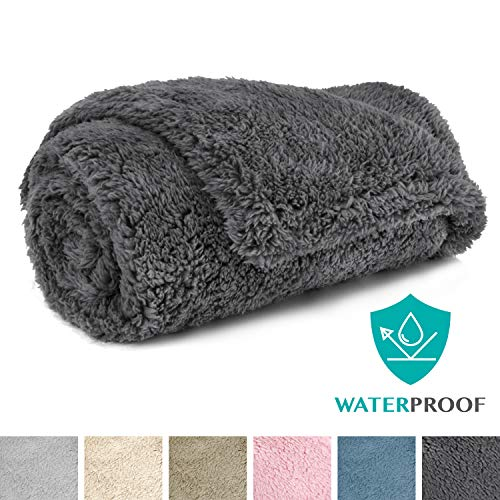 PetAmi Fluffy Waterproof Dog Blanket Fleece | Soft Warm Pet Fleece Throw for Medium Dogs and Cats | Fuzzy Plush Sherpa Throw Furniture Protector Sofa Couch Bed (Grey, 29x40)