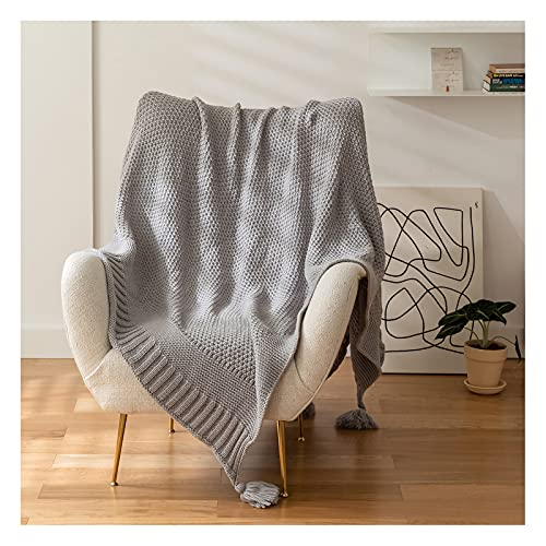 YT-KOKE Knit Throw Blankets with Lovely Tassels, Lightweight and Soft Blanket for Sofa Bed, Solid Color Simple Blanket Suitable for Women Men and Kids (Grey)