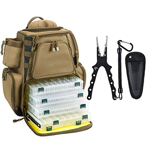 Piscifun Fishing Tackle Backpack Khaki Backpack with 4 Trays Bundle Aluminum Fishing Pliers Black & Silver