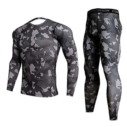 Jinqiuyuan Herren Camouflage Thermo-Unterwäsche Set Long Johns Winter-Thermo-Unterwäsche Base Layer Männer Sports Compression Langarmshirts (Color : Thermal Underwear 4, Size : XXL)