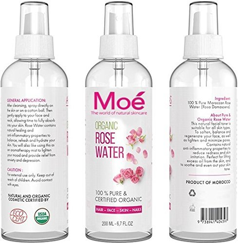moé – 200 ml bio Rose Agua, 100% puro Producto natural sin alcohol y conservantes. Rose Water Organic Vegan Moe