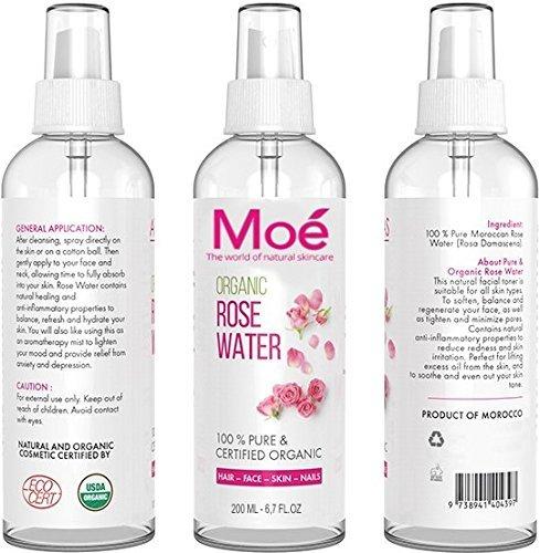 moé–200ml bio Rose Agua, 100% puro Producto natural sin alcohol y conservantes. Rose Water Organic Vegan Moe
