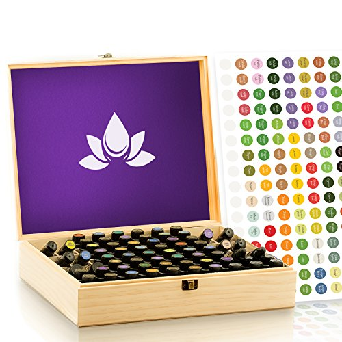 Essential Oil Wooden Box - Oils Storage Case Holds 68 Bottles & Roller Balls. Natural Pine Wood. Large Organizer Best for Keeping Your Oils Safe. Includes Padding and EO Labels