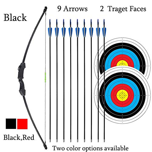 "iMay 45"" Bow and Arrows Set with 9 Arrows 2 Target Faces for Teens Outdoor Archery Beginner Gift Recurve Bow Longbow Kit (Black)"