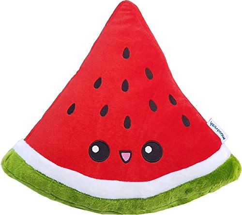 moodrush® Melone Kissen/Wassermelone Plüsch | alle Elemente aufgestickt (Nicht Bedruckt!) | waschbar | ca. 38x36 cm
