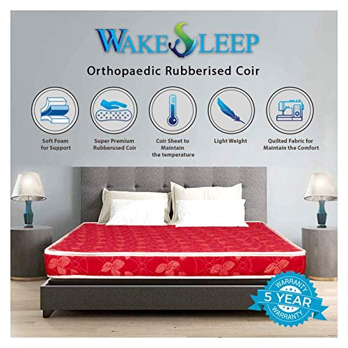 Wake Sleep Coir Mattress 4 Inch Back Support Orthopaedic Care, Twil Breathable Fabric Mattresses, Single Size Mattress (72x36x4 Inch)