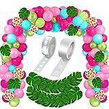 LYEJFF Suministros de Decoraciones de Fiesta Tropicales 142pcs Partido de Playa Hawaiana Unisex Decoraciones de cumpleaños para Mujeres, Hombres
