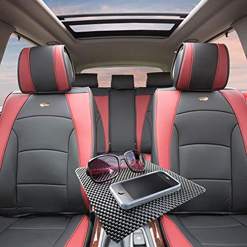 TLH Ultra Comfort Leatherette Seat Cushions Full Set, Burgundy Color w/Non Slip Dash Mat