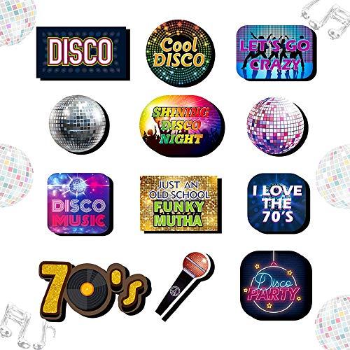 JeVenis 13 PCS 70er Jahre Disco Photo Booth Requisiten Disco Partyzubehör Disco Party Zeichen Disco Fever Party Dekoration