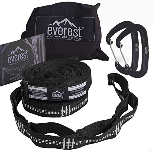 Hammock Straps - Everest   Tree Saver Straps & Aluminum Carabiners Lightweight Triple Stitch Extra Strong No Stretch Polyester Adjustable 14 Loop Suspension System 10 ft Long - Ultra Fine Tune