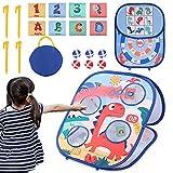 Kqpoinw Juego de lanzamiento de bolsitas, Juegos de lanzamiento al aire libre para niños, juego de lanzamiento, juguetes de jardín para niños, tablero de dardos, disco de lanzamiento, objetivo