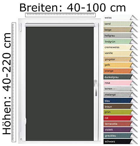 EFIXS Thermorollo Mini - 17 mm Welle - Farbe: dunkelgrau (061) - Größe: 80 x 220 cm (Stoffbreite x Höhe) - OHNE BOHREN - incl. verstellbare Klemmträger & Rollomagnete - Hitzeschutz - Verdunklungsrollo