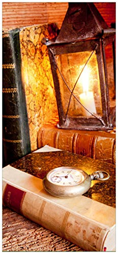 posterdepot ktt0234 deurbehang deurposter antieke lantaarn met kaars, oude boeken en zakhorloge grootte 93 x 205 cm