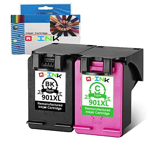 QINK Wiederaufbereitete Tintenpatrone Ersatz für HP 901XL Tintenpatronen Verwenden für HP Officejet 4525 4500 4580 j4500 4680 j4585 g510n druckerpatronen 2PK(1schwarz/1farbe)