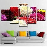 Jason Ming キャンバス写真フレームHdプリント壁アート家の装飾リビングルーム5ピース色とりどりの花ブルーム絵画ダリアピンナタポスター-20X35Cmx2,20X45Cmx2,20X55Cmx1
