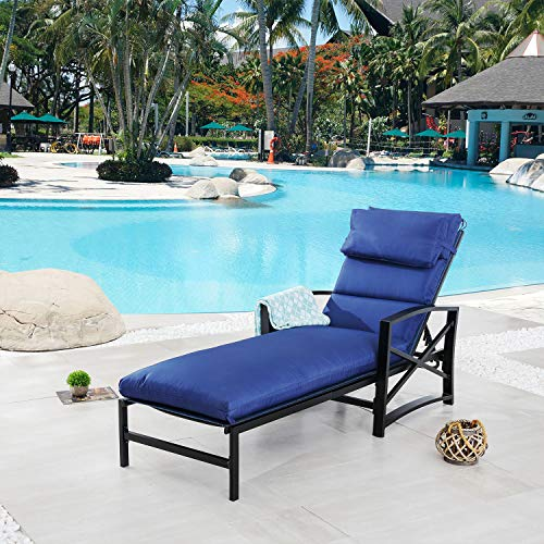 Festival Depot 1 Pieces Patio Outdoor Chaise Lounge Recliner Chairs with Cushions Set Premium Fabric Metal Frame Furniture Garden Bistro Soft Headrests (Blue)