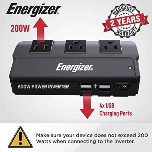 Energizer 200 Watts Power Inverter 12V to 110V, Modified Sine Wave Car Inverter, DC to AC Converter with Three 110 Volts AC Outlets and 4 USB Ports 2.4A ea - ETL Certified Under UL Std 458