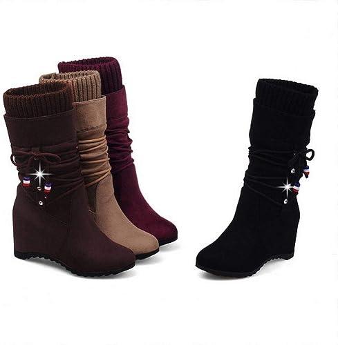 GZ Chaussures Femme - Bottes Plates Plates Hauteur Femme Bottes Femme Mat Bottes Moyennes Bottes élastiques 35-43  marque célèbre