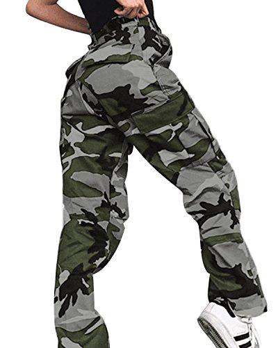 ORANDESIGNE Damen Camouflage Hose Mädchen Hip Hop Jogger Trainingshose Casual Sport Camo Cargo Hosen Grün EU X-Large