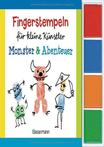 Fingerstempeln für kleine Künstler-Set - Monster und Abenteuer: Mit vier Fingerstempelfarben