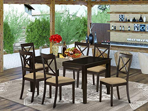 East West Furniture CABO7S-CAP-C Kitchen Table Set 7 Pc - Linen Fabric Modern Dining Chairs Seat - Cappuccino Finish Small Rectangular Dining Table and Body