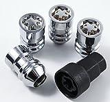 AccuWheel LNL-12000C36 Set of 4 Premium Chrome Closed Acorn Locking Lug Nuts/Wheel Locks 1/2-20 Tread