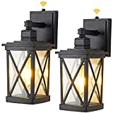 2 Pack Dusk to Dawn Outdoor Wall Lantern Modern Exterior Wall Light Fixtures with Photocell Sensor Porch Lights Wall Mount Outside Light for House, Aluminum with Clear Glass, Black