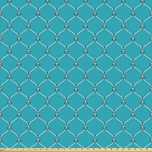 Lunarable Nautical Fabric by The Yard, Tied Navy Rope with Small Anchors Pattern in Axis Fishnet Mesh Knot Marine Illustration, Microfiber Fabric for Arts and Crafts Textiles Decor, 2 Yards, Blue