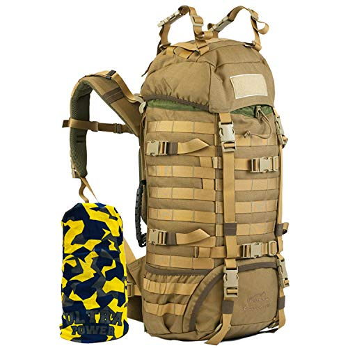 Wisport großer Backpacker Rucksack Damen Herren I Work & Travel Backpack Mädchen Jungen I Wandertour I Weltreise I Travel Pack I Cordura I Raccoon 45 Liter + Ultrapower Schlauchtuch Coyote Brown