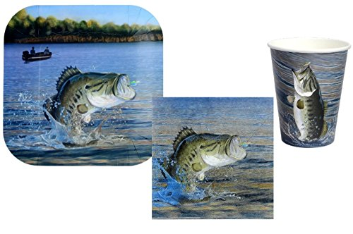 Fishing Party Supplies - Bundle Includes Plates, Napkins and Cups for 8 Guests in a Gone Fishin' Design