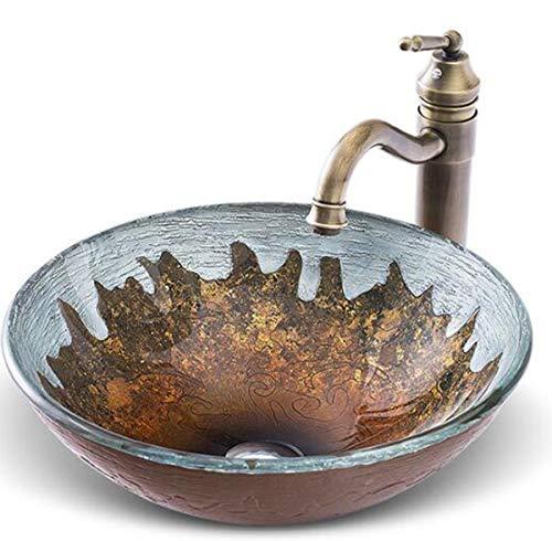 NANXCYR wastafel van gehard glas, rond, met bekken Bowl Pop Evuation Set en messing Vintage waterkraan, E
