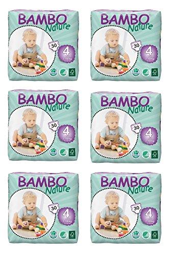 Bambo Windeln Nature Maxi Short, Gr. 4 (7-18 kg), 6er Pack (6 x 30 Stück)