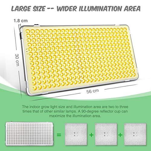 Bozily Lampe Plante LED, Lampe de Croissance Horticole, 300W, 338 LEDs, Spectre Complet, pour Plantes Intérieur, Semis, Croissance, Floraison et Fructification