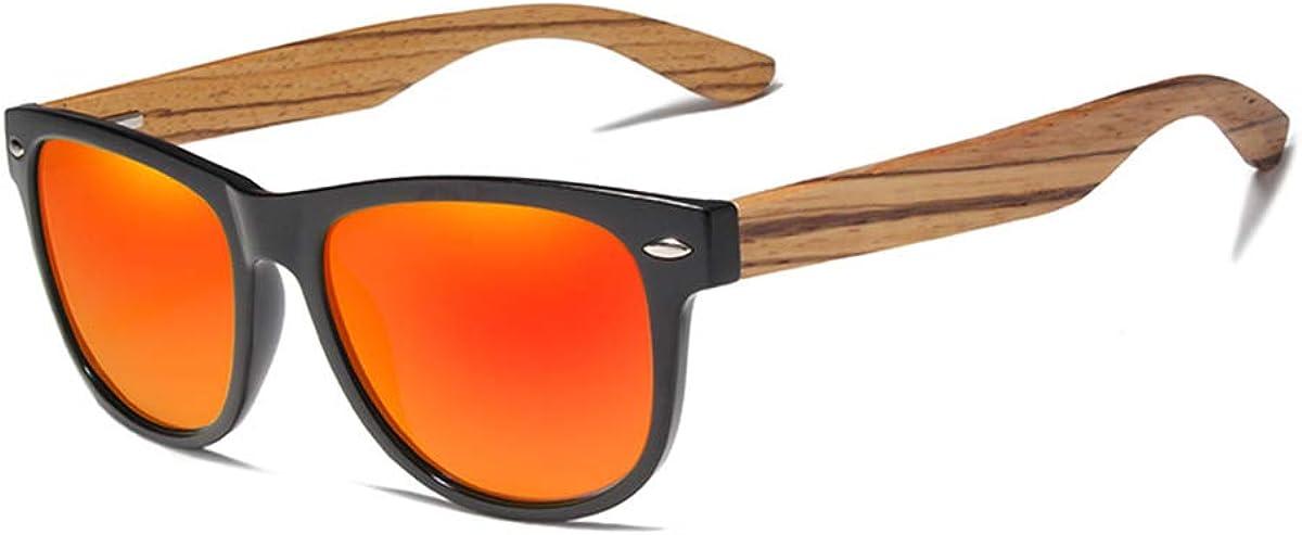RTGreat NEW Zebra Natural Wood Polarized Sunglasses Des lunettes de soleil Mirror Lens Retro Wooden Frame Women Driving Sun Glasses Shades Gafas Red Zebra Wood