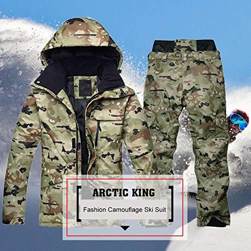 Schneeanzug für Männer wasserdicht,Awhao ARCTIC QUEEN Camouflage verdickt Snowboard Mantel und Hose Set, Skianzug Set für den Winter im Freien, warmes Geschenk für Freund Papa