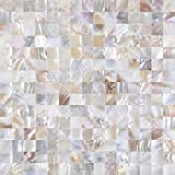KASARO Wall Tile Peel and Stick Mosaic Shell Backsplash Tile for Bedroom and Bathroom Mother of Pearl (1, Nature)