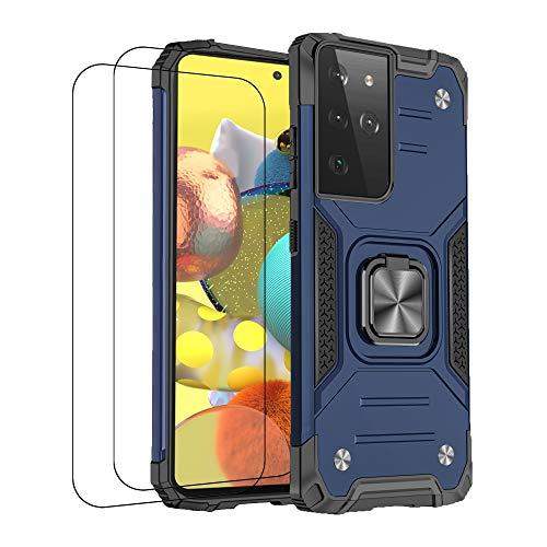 Compatible con carcasa Samsung S21 Ultra Case antigolpes, funda con cristal templado de silicona magnética, funda con soporte de armadura de protección (Samsung S21 Ultra, azul)