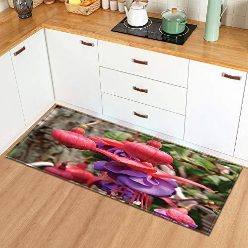 Alfombra en el baño Hogar Sala de Estar Cocina Alfombra Planta Flores Patrón Entrada Felpudo Dormitorio Pasillo Alfombra A16 50x160cm