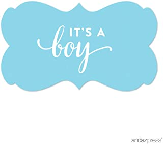 Andaz Press Fancy Frame Rectangular Label Stickers, It's a Boy!, Baby Blue, 36-Pack