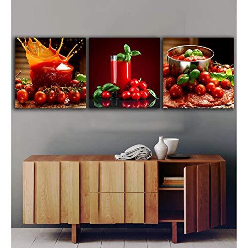 UDPBH 3 Panel Tomaten Sap schilderijen voor de keuken fruit muur decor moderne canvas kunst muurfoto's voor woonkamer frame