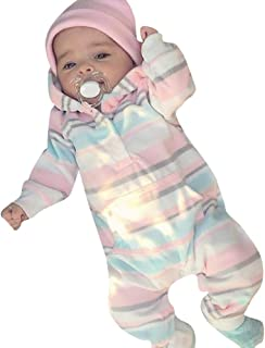 Suma-ma Clearance Stripe Flannel Hoodie Infant Kids Romper Clothes - Soft Non-Fade BPA Free Jumpsuit Outfit 0-24M