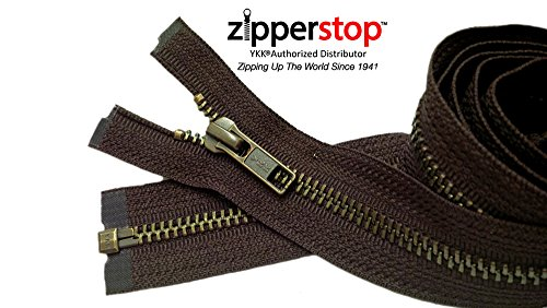 Zipperstop Wholesale YKK- Jacket Zippers YKK #5 Antique Brass- Metal Teeth Separating for Crafter's Special Color Sept. Brown #570 Made in USA -Custom Length (19 inches)