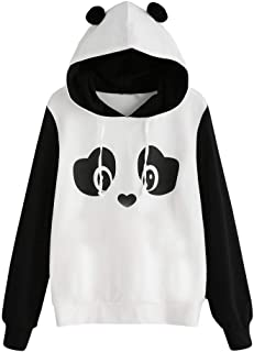 Womens Girls Cat Ear Pullover Hoodie Rugby Ball Heartbeat Cropped Sweatshirts