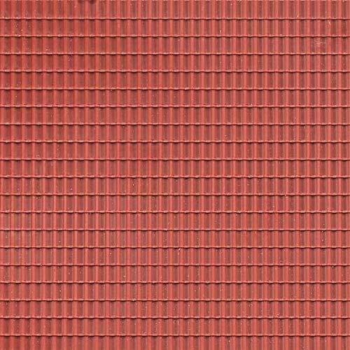 Auhagen 52225.0 - Decoratieve platen dakpan, 10 x 20 cm structuuroppervlak, roodbruin