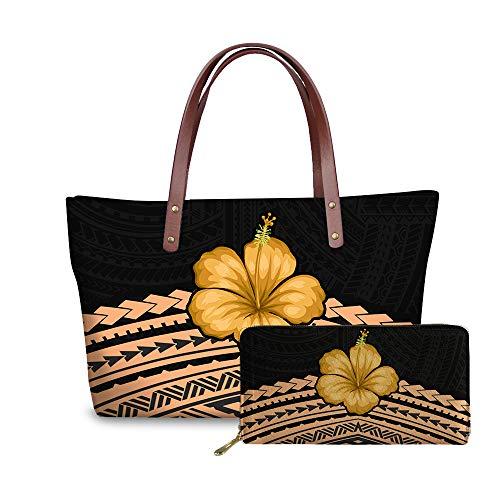 SEANATIVE Lujosas bolsas de hombro para mujer, 2 unidades, grandes bolsos con monedero, juego de 2 paquetes de tribus polinesias, diseño floral Plumeria