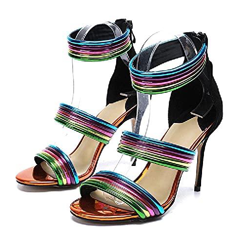 SHENGYAO Tacones Sandalias Sandals Toble Correa, Bombas de Toe Abiertas Stiletto para Fiesta de Prom y Trabajo de Oficina, Comodidad Casual de Lujo, Regalo del Día de la Madre,37