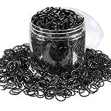 2000 Pack Mini Rubber Bands Elastic Hair Bands Soft Hair Ties with Box for Children Hair Braiding Hair Wedding Hairstyle (Black)