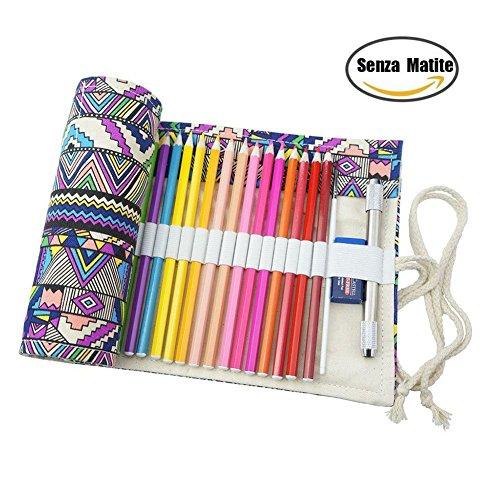 Demarkt Astuccio in tela portamatite cassa di matita rotolo fino a sacchetto portapenne per studenti cancelleria stoccaggio borsa retro stile (72 Fori)