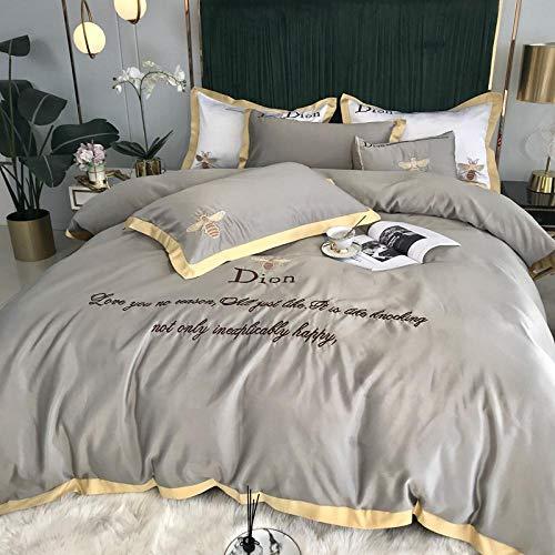 Bedding-LZ Juego de Funda nórdica Cama 150,Lava la Cama de Seda Cuatro Juegos de Pantallas de Seda Europeas Desnudas sábanas Desnudas-D_Cama de 2,0 m (4 Piezas)