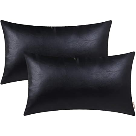 brawarm pack of 2 cozy bolster pillow covers cases for couch sofa home decoration solid dyed soft faux leather both sides 12 x 20 inches black
